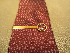Vintage Yellow Gold Plated Golf Ball and Club Tie Bar