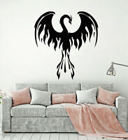 Vinyl Wall Decal Phoenix Fantastic Bird Fire Forks Of Flame Stickers (g2213)