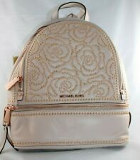 NWT MICHAEL Kors Rhea Zip Leather Studded Roses Backpack Soft Pink/Gold MSRP$398