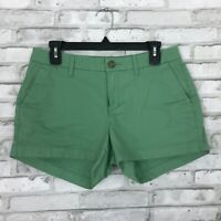 "Old Navy Womens Mid Rise Green Cotton Stretch Short Pockets 3"" Inseam Size 4"