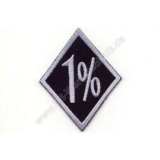 1% Biker Raute Patch Aufnäher 8 x 6,5 cm gestickter Rocker 1 prozenter Grau