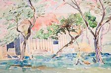 Aquarelle originale de Henri Battas, XXème, chaumière normande (Montvilliers).
