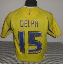 Leeds United 2008-2009 Away / DELPH #15 - MACRON Junior Shirt/Jersey. Size XS/LJ