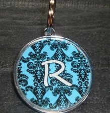 Blue Damask Initial Designer Pet Id Tags Dog Cat Tag
