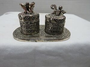 BABY'S FIRST TOOTH & FIRST CURL PEWTER TRINKET BOXES ON TRAY-FARIES