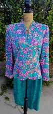 Vintage 80s Adrianna Papell Size 12 100% Silk Multi Jewel Tones Floral 2Pc Dress