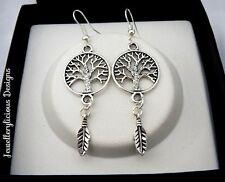 Beautiful Silver Tree Of Life Dream Catcher Earrings 6cm