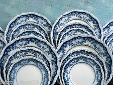 FLOW BLUE BOOTHS England ROSA FLORAL GOLD SET 8 Royal Semi Porcelain
