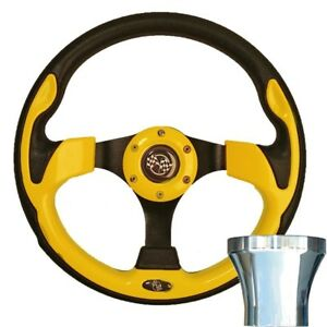 """CLUB CAR DS 12.5"""" Rally Style Yellow Steering Wheel W/CHROME ADAPTER"""