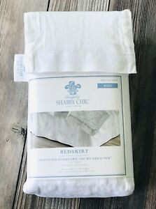 """NWT Simply Shabby Chic King White Linen Blend Embroidered Bedskirt 15"""" Drop"""