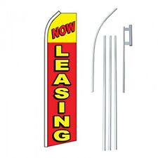 Now Leasing Flag Kit Yellow Red Advertising Sign Swooper Feather Banner