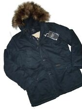 Abercrombie & Fitch Men's B 9 Sherpa Lined Parka Fur Jacket Coat Blue Navy LARGE