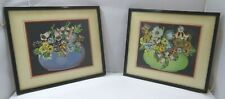 Pair of Vintage 1930s Framed Floral Collage Pictures