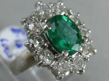 ESTATE 3.44CT DIAMOND EMERALD 18K WHITE GOLD LADY DIANA ENGAGEMENT RING 1.332864