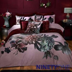 Velvet Floral Double Flowers Purple Plum Duvet Cover Set Quilt Bedding Set Quilt