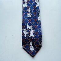 101 Dalmatians Tie Woolworths Disney Vintage Navy Blue Dogs Puppy