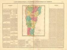 Vermont antique state map. Counties. BUCHON 1825 old plan chart