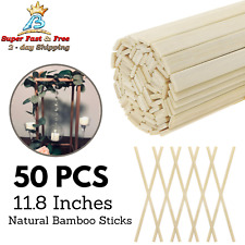 50 PCS Wood Craft Natural Bamboo Sticks Strips Strong Natural for Craft Projects