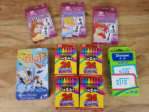 LOT OF KIDS LEARNING AND CREATIVITY PACK - CRAYONS / FLASH CARDS / CARD GAME