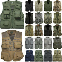 Mens Multi Pocket Waistcoat Jacket Fishing Hunting Photography Utility Vest Coat