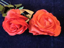 """Vintage Millinery Flower Pure Silk Collection Rose 4""""-5"""" Red German Ka9t"""