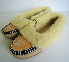 US Sz 10 Moccasins Slippers Flats Leather Nubuck Wool Warm Zakopane Poland 3GS