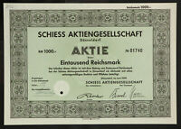 🇩🇪GERMANY 842/M -Schiess Aktiengesellschaft, Düsseldorf 1939 1000 RM🇩🇪