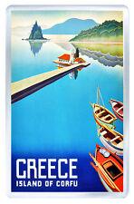 GREECE ISLAND OF CORFU VINTAGE REPRO FRIDGE MAGNET SOUVENIR IMAN NEVERA