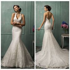 Halter Sexy Mermaid Button Lace Wedding Dress Bridal Gown Custom Size 4~22++++++