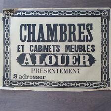 AFFICHE ANCIENNE 1810 CHAMBRE ET CABINETS  A LOUER MAISON IMMOBILIER IMPRIMERIE