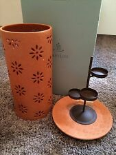 Partylite Terra Blossom Pillar Lantern P8858 New Clay & Tealight Candle Insert