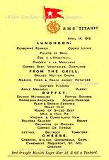 Photo 5x7: Titanic Luncheon Menu: The 1st Class Dining Salon
