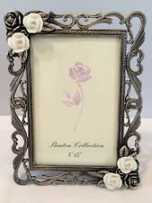 NIB Rose 4x6 Heavy Pewter Photo Frame w/ Roses & Rhinestones New Old Store Stock