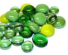 Glass Mosaic Tile Nuggets - Green Mix Rounded Gems