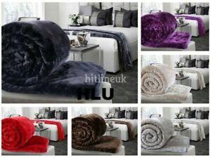 Luxury Faux Mink Fur Fleece Blanket Throw Bed Sofa Double Size 150 x 200 New