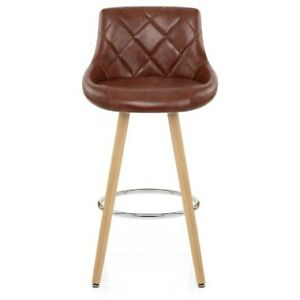 Auction *SET OF 2* Fuse Wooden Bar Stool Antique Brown Faux Leather (ME079)(1)