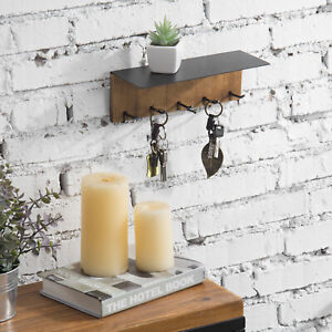 Wall-Mounted Burnt Solid Wood & Black Metal Entryway Shelf Rack w/ 5 Key Hooks