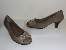 Aerosoles Brown Tweed w/ Silver & Gold Beaded Bow Pumps Size 8.5 1/2 Heels Shoes