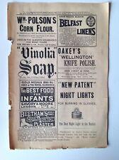1891 Antique Magazine Advert, Original, Belfast Linens, Corn & Bunion Plasters