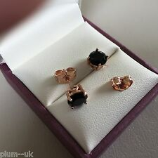 Classic round BLACK SAPPHIRE 6.5mm stud earrings ROSE GOLD filled BOXED Plum UK