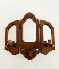 Vintage Wood Framed Wall Mirror, Candle Holder Sconce Wall Hanging Decor Trifold