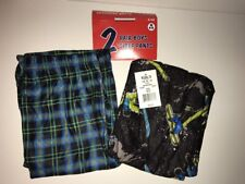 UP-LATE Boys' 2-pk. Snowboarder & Plaid Sleep Pajama Pants MULTICOLOR M(6/8) NWT