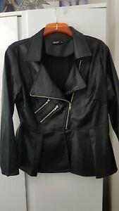NEW SHEIN Black Faux Leather Peplum Biker Jacket Size 1XL 16 18