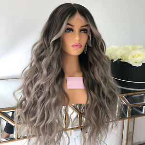 Peruvian Full Lace Human Hair Wigs Ombre Ash Grey Wavy Remy Lace Front Wig