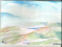 LONG MOUNTAINS Original Watercolor Landscape Painting ACEO small ART mini ATC NR