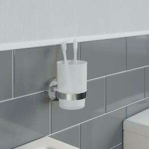 New Stylish Modern Bathroom Tumbler Toothbrush Holder Chrome Square Wall Mounted