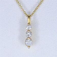 14k Oro Amarillo Blanco Redondo 0.20ct COLGANTE CON DIAMANTE CADENA