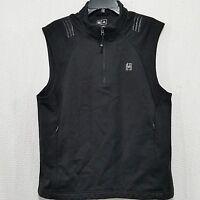 ADIDAS  MEN'S BLACK VEST Pullover CLIMAPROOF WIND  Athletic Golf 1/4 ZIP M  (A8)
