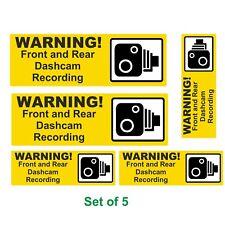 5 Dash Cam Recording Laminated Vinyl Warning Stickers Taxi Car Minibus Van  etc