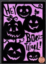 Halloween Pumpkins Hey Bootiful! Purple and Black Smiling - Greeting Card New